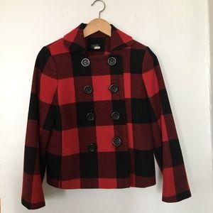J. Crew Buffalo Check Pea Coat, Size 6